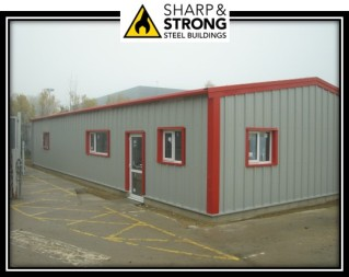 Steel Building with blue trim